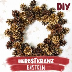 Bastelanleitung - Herbstkranz aus Naturmaterial basteln 🍁 Herbst-DIY 🍁 Crafting with natural material. It's easy to make an autumn wreath yourself. Diy Fall Wreath, Autumn Wreaths, Fall Diy, Christmas Crafts For Kids, Fall Crafts, Diy Crafts, Nature Crafts, Summer Crafts, Easter Crafts