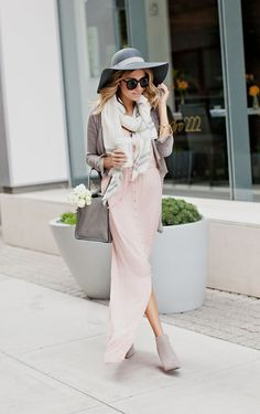 pale pink maxi dress + gray hut