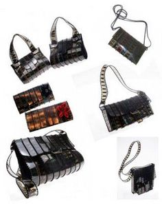 """Bags made from old film negative """"fabric"""" 