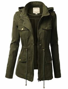 J.TOMSON Womens Trendy Military Cotton Drawstring Jacket at Amazon Women's Clothing store