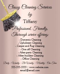 Tiffany Cleaning Services Tiffany, Cleaning Business Cards, Cleaning Services, Rug Cleaning, How To Clean Carpet, Ideas, Taking Notes, Stamps, Housekeeping