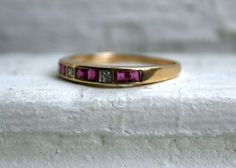 Lovely Vintage 10K Yellow Gold Diamond and Ruby by GoldAdore, $185.00
