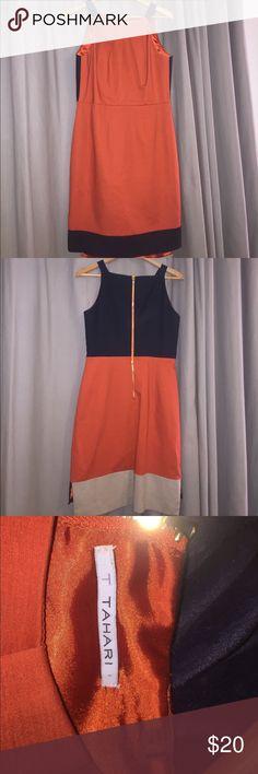 T Tahari  Size 8. EUC  Like New  Dry Clean Beautiful color!  Beautifully lined!  Great dress! T Tahari Dresses Midi