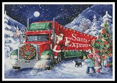 This counted cross stitch pattern of Santa and the Santa Express Truck was created from an image copyright of Interlitho. Christmas Tree Scent, Christmas Scenery, Noel Christmas, Vintage Christmas Cards, Christmas Pictures, Xmas, Counted Cross Stitch Patterns, Cross Stitch Embroidery, Chocolate Advent Calendar