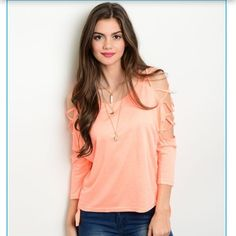 Coral Swiss! Swiss Arm Blouse! Coral with open arms in Swiss layers! Absolutely gorgeous! Tops Blouses