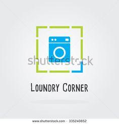 Laundry Corner Logo with washing machine, laundry washing symbols, Flat style vector illustration.