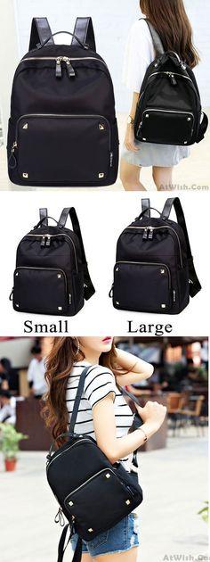 Fashion Black Rose Simple Nylon Splicing PU Rivets Waterproof School Backpack for big sale! #rivet #school #Backpack #Bag #college