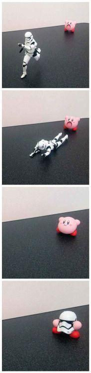 Jedi Kirby swallows a Stormtrooper