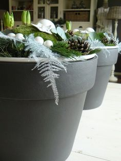 Christmas - use chalkboard paint to write saying on the pot Christmas Greenery, Christmas Porch, Green Christmas, Rustic Christmas, Xmas Tree, Winter Christmas, Christmas Bulbs, Christmas Decorations, Christmas Things To Do
