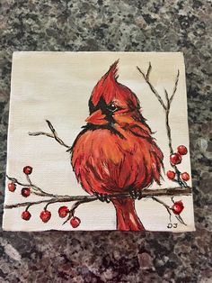 Cardinal Acrylic painting on red berry branch.