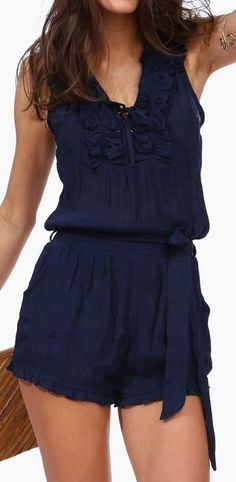 Navy Lane Romper ♥ love the color looks so fresh and light but sexy at the same time