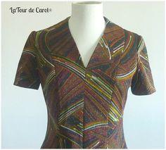 Vestido Vintage Metallic Dress Retro por LatourdeCarol en Etsy, €25.00