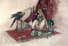 Vintage Digital Image - Indian art, Warwick Goble, Hookah, Instant Download, Printable, Transfer Image, Scrapbooking, Craft Image