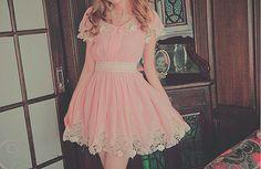 cute lace trim pink dress. Little bit longer cute brides maid dresses