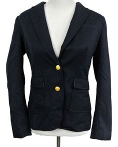 Banana Republic NWT Sz 4 Navy Blue Blazer Jacket Gold-tone Buttons Career Work #BananaRepublic #Blazer