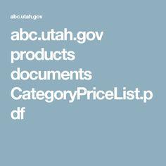 abc.utah.gov products documents CategoryPriceList.pdf