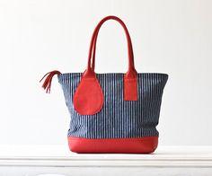 Kallisto bag in stripe denim and red leather ~ milloo