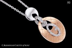 Spunk up your outfit with our rose gold, white gold and diamond pendant...