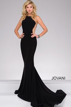 Black Fitted Jersey Long Simple Prom Dress 41056