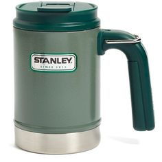 Men's Stanley 'Classic' Vacuum Insulated Camp Mug ($15) ❤ liked on Polyvore featuring home, kitchen & dining, drinkware, hammertone green, green mug, face mug and stanley furniture