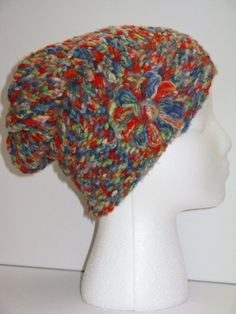 Adult Size Red Multicolor Bamboo Knit Hat w/ by ToOurMoonAndBack, $25.00
