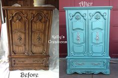 Carved Armoire Painted Turquoise With Black Antiquing Before And After  Pictures. Refinished By Kellyu0027s Creations