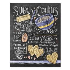 We make our sugar cookies in the shape of hearts because we absolutely love this recipe! If sweet and simple sugar cookies are your favorites, this hand illustrated recipe design will be too! ♥ Our fi