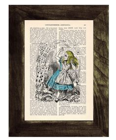 Vintage Book Print Alice in Wonderland alice with deck of cards Print on Vintage Dictionary Book art via Etsy