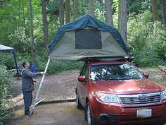 roof top tent opened, on Subaru Forester 2009, 2010, 2011, 2012, 2013 years