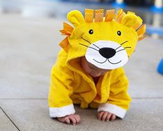 Baby-Steps, Yellow Lion Hooded #Bathrobe * 3 YEAR REPLACEMENT WARRANTY  - So you can rest easy knowing that this is a well #made product that will give you many y...