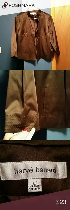 harve' benard brown satiny jacket In excellent condition. Beautiful satin feel and look jacket. Two front side pockets. Designer stitching around the neckline and the base of the sleeves. Fully lined. Very well tailored and thick. Harve Benard Jackets & Coats Blazers