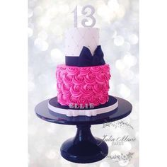 A sweet 13 birthday cake with buttercream rosettes, sugar bow and glitter sugar number toppers. White Birthday Cakes, Pink Birthday Cakes, Birthday Cakes For Women, Sweet 16 Birthday, Birthday Ideas, 21 Birthday, Hot Pink Cakes, Rosette Cake, Sweet 16 Cakes