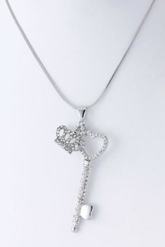 Crown and Key Pendant Necklace