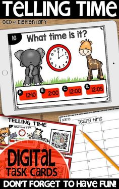 Grab this digital task card set to keep your elementary students learning! This set covers telling time to the hour and half hour - perfect for K, 1st, and early 2nd grade.  Students just scan the qr code and begin working. Perfect for math centers! #task