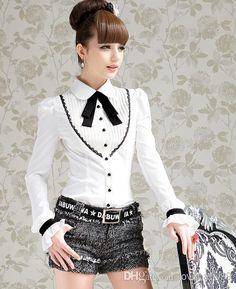 393c95de3da7d 2013 new fashion cute career black tie crimp slim white color college style  long sleeve tops blouses shirt for women girls