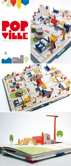 "A clever litttle pop up city: Popville  by Anouck Boisrobert, Louis Rigaud, and Joy Sorman.  ""Popville is a pop-up book in which each page ..."