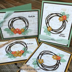 "When you need a few thank you cards...you just create with your SU! products!   I have seen several ""wreaths"" made with the swirly scribbles thinlits (#141497) so I wanted to give it a try! I love the brick wall embossing folder!  (#138288) Using the stamp from the sunshine sayings (#141594), it adds just the right touch to the background!  www.bonniestamp.stampinup.net"