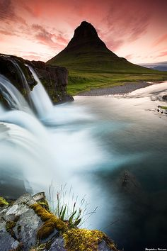 "The waterfall ""Kirkjufellsfoss"" and Mt, Kirkjufell in Grundarfjordur, west Iceland."