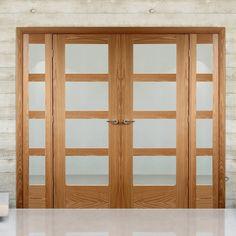 Easi-frame oak Shaker 4 pane door pair and frame room dividers offer fantastic value. Room Divider Doors, Room Dividers, Wooden Sliding Doors, Room Partition Designs, Double Doors Interior, Door Fittings, French Doors Patio, Door Sets, Oak Doors