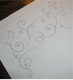 freehand scrolling swirly vine motif - vines are always so hard for me.
