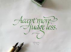 Italic calligraphy experiments with steel nib and fountainpen.