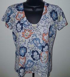 Liz Claiborne Woman's Light/Dark Blue/Orange/Yellow Floral Shirt Size M #LizClaiborne #Blouse #Casual