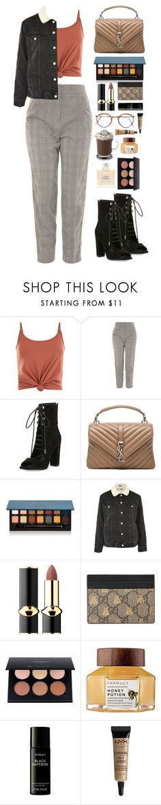 """""""Untitled #533"""" by emmeleialouca ❤ liked on Polyvore featuring Noisy May, Topshop, Kendall + Kylie, Yves Saint Laurent, Anastasia Beverly Hills, Pat McGrath, Balmain, Gucci, Farmacy and Liberty"""