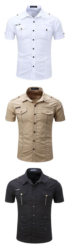 Outdoor Casual Washed Cargo Shirts for Men : Chest Pockets / Band Collar