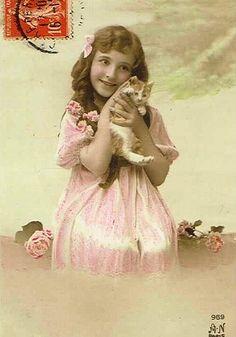§ Vintage Cat, Vintage Girls, Vintage Children, Vintage Images, Photo Chat, Pink Satin, Disney Characters, Fictional Characters, Past