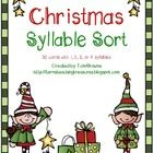 This is a fantastic activity to help students practice counting syllables. There are 30 Christmas words for them to sort into 1, 2, 3, or 4 syllabl...