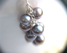 Silver and Purple Freshwater Pearl Cluster Earrings - Lila Collection