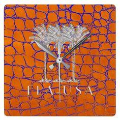 Florida FLA USA Orange Alligator Square Wall Clock