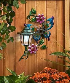 Butterfly Solar Wall Lantern Light Yard Lawn Porch Patio Deck Outdoor Home Decor | eBay