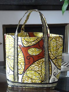 African fabric tote bag with sequins. CHF80.00, via Etsy.